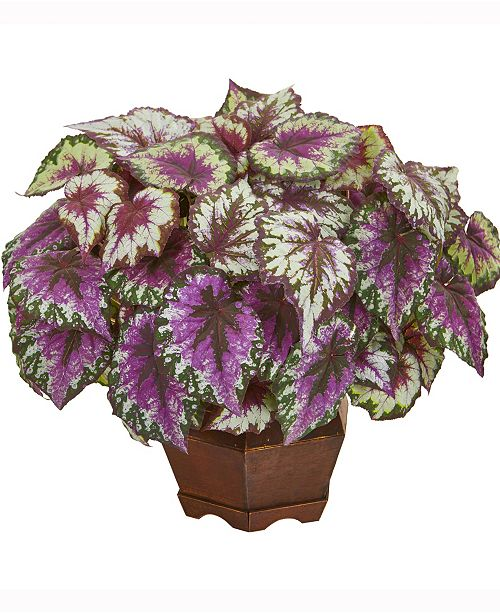 Nearly Natural 19in. Wax Begonia Artificial Plant in Decorative Planter