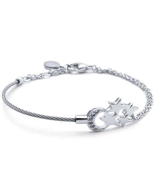 CHARRIOL White Topaz Moon & Stars Cable Bracelet (1/8 ct. t.w.) in Sterling Silver &  Stainless Steel