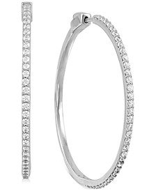 Diamond Medium Skinny Hoop Earrings (1 ct. t.w.) in Sterling Silver, 1.65""
