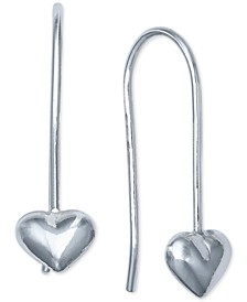Puff Heart Threader Earrings in Sterling Silver, Created For Macy's