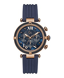 Gc Women's Cable Chic Blue Silicone Strap Watch 38mm