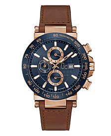 Gc Men's Urban Code Chrono Genuine Brown Leather Strap Watch 44mm