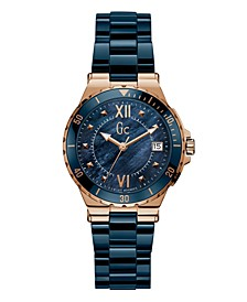 Gc Women's Structura Lady Blue Ceramic Bracelet Watch 36mm