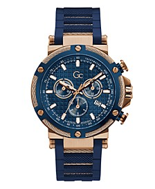 Gc Men's Urban Code Yachting Chrono Blue Silicone Strap Watch 44mm