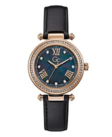 Gc Women's Prime Chic Genuine Black Leather Watch 36mm