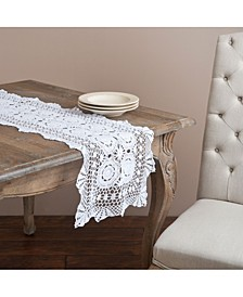 "Handmade Cotton Crochet Table Runner, 16"" x 72"""