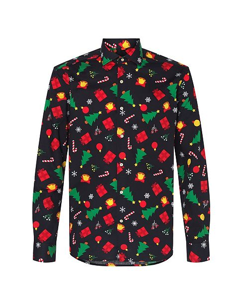OppoSuits Men's Christmas Icons Black Christmas Shirt