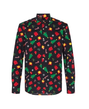 Christmas is the ideal occasion to incorporate some festiveness into your outfit. This Christmas shirt with black icons can be paired with all kinds of garments, from casual to formal, and instantly provides a festive look. In other words- it\\\'s great for every holiday-related occasion.