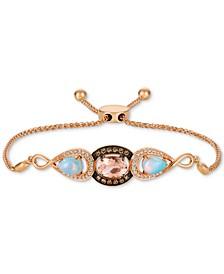 Multi-Gemstone (1-3/8 ct. t.w.) & Diamond (1/3 ct. t.w.) Bolo Bracelet in 14k Rose Gold