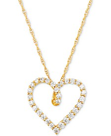 "Diamond Heart 18"" Pendant Necklace (1/2 ct. t.w.) in 14k Gold"