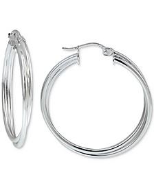 """Medium Multi-Row Hoop Earrings in Sterling Silver, 1.2"""", Created For Macy's"""