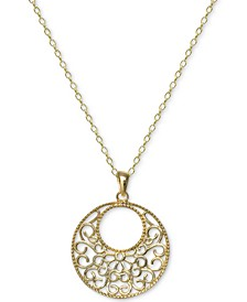 "Filigree Circle 18"" Pendant Necklace in 18k Gold-Plated Sterling Silver, Created For Macy's"