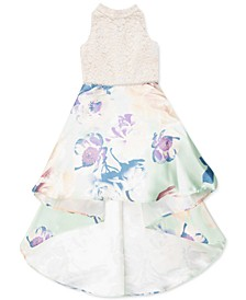 Big Girls Lace & Floral High-Low Dress