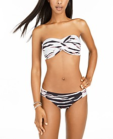Zebra Print Bandeau Bikini Top & Side-Shirred Bottoms, Created for Macy's