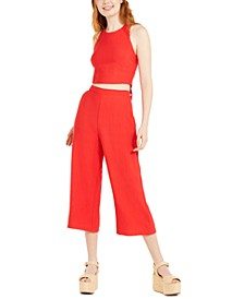 Juniors' 2-Pc. Bow-Back Crop Top & Pants