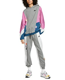 Icon Clash Colorblocked Mixed-Media Hoodie & Sweatpants