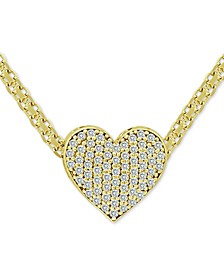 "Cubic Zirconia Pavé Heart 18"" Pendant Necklace in 18k Gold-Plated Sterling Silver"