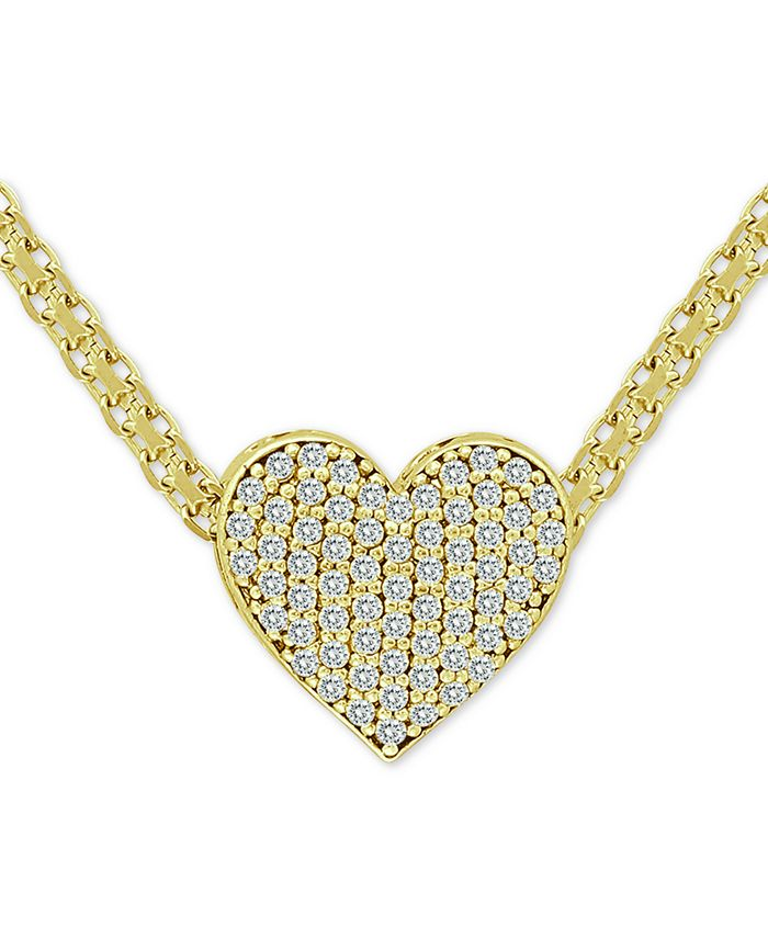 """Macy's - Cubic Zirconia Pavé Heart 18"""" Pendant Necklace in 18k Gold-Plated Sterling Silver"""