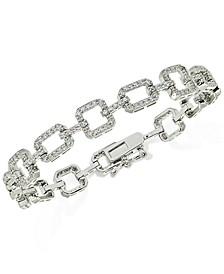 Cubic Zirconia Square Link Tennis Bracelet in Sterling Silver
