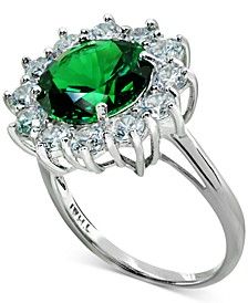 Cubic Zirconia Green Halo Statement Ring in Sterling Silver