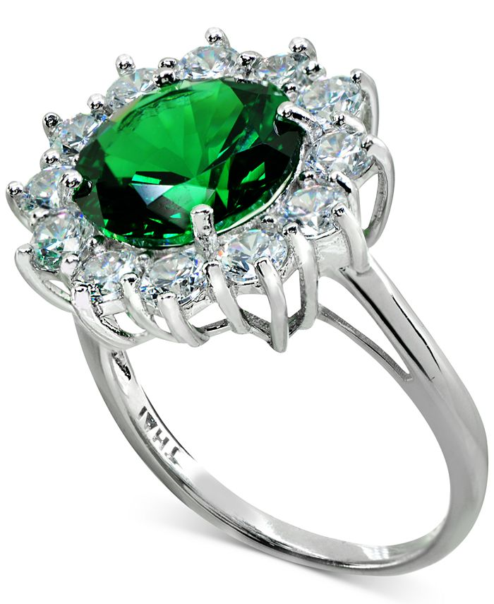 Macy's - Cubic Zirconia Green Halo Statement Ring in Sterling Silver