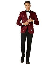 Deluxe Men's Deep Burgundy X-Mas Icons Christmas Blazer