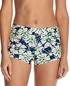 Juniors' In Bloom Printed Surf Swim Boyshorts