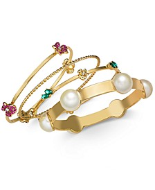Gold-Tone 4-Pc. Set Imitation Pearl & Crystal Bangle Bracelets, Created for Macy's