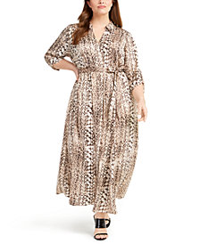 INC Plus Size Printed Belted Shirtdress, Created for Macy's