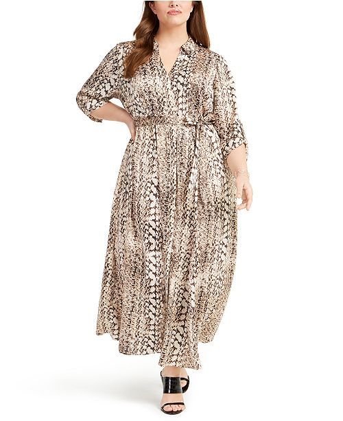 INC International Concepts INC Plus Size Printed Belted Shirtdress, Created for Macy's