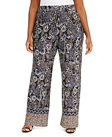 Plus Size Printed Pull-On Pants