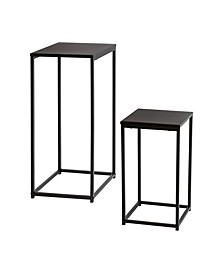 Set of 2 Square Black Side Tables