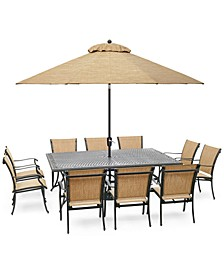 "Beachmont II Outdoor 11-Pc. Dining Set (84"" x 60"" Dining Table and 10 Dining Chairs), Created for Macy's"