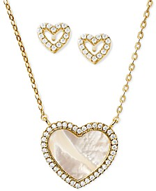 Sterling Silver Pavé and Mother-of-Pearl Heart Pendant Necklace & Stud Earrings Set