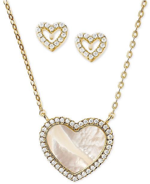Michael Kors Sterling Silver Pavé and Mother-of-Pearl Heart Pendant Necklace & Stud Earrings Set