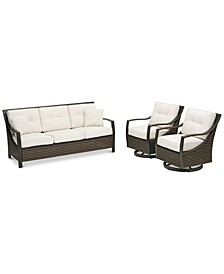 North Shore Outdoor 3-Pc. Seating Set (Sofa & 2 Swivel Chairs) with Sunbrella® Cushions, Created for Macy's
