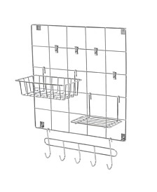 8-Piece Chrome Wire Wall Grid with Storage Accessories