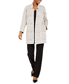 Petite Open-Front Jacquard Jacket, Created For Macy's