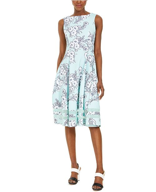 Calvin Klein Petite Floral Midi Fit & Flare Dress