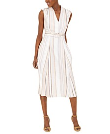 Belted Surplice Striped Dress