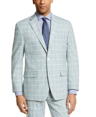 Men's Classic-Fit Green Windowpane Suit Separate Jacket