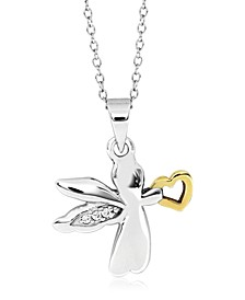 Children's 2-Tone Angel Pendant Necklace in Sterling Silver and 14K Yellow Gold over Sterling Silver