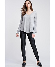V Neck Long Sleeve Front Tie Knit Top