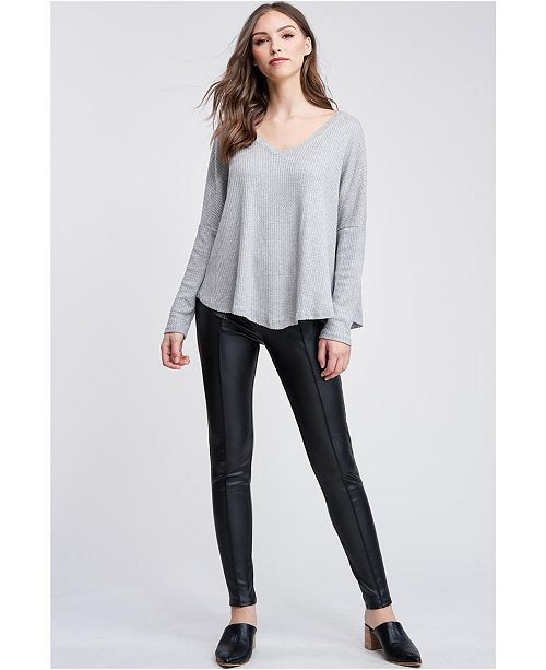 Emory Park V Neck Long Sleeve Front Tie Knit Top