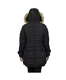 Women's Parka with Detachable Hood and Fur Trim