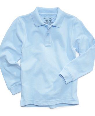 Long-Sleeve School Uniform Polo, Big Boys