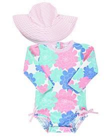 RuffleButts Toddler Girls Long Sleeve Rash Guard Swimsuit Swim Hat Set