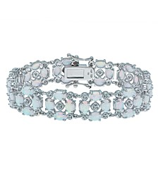 Opal (12-1/2 ct. t.w) and White Topaz (1/2 ct. t.w) Tennis Bracelet in Sterling Silver