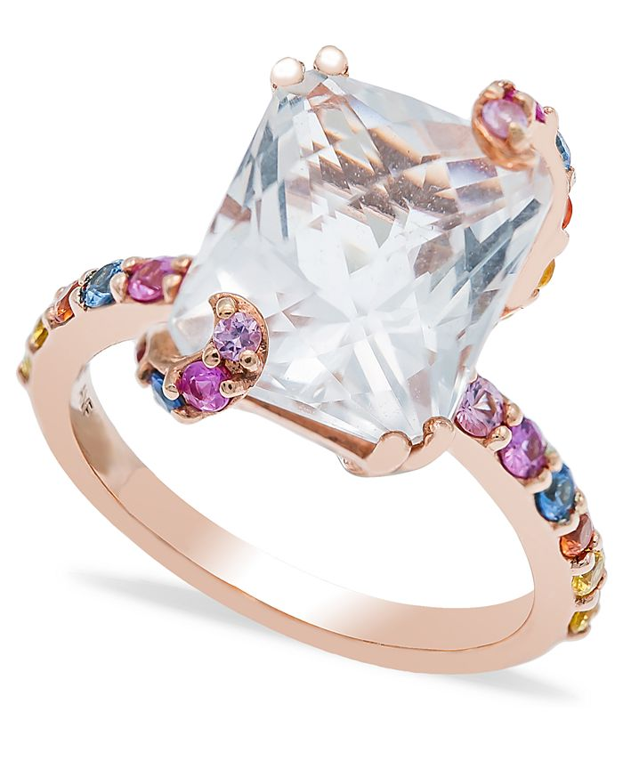 Macy's - White Quartz and Multi-Colored Sapphire Ring in 14K Rose Gold