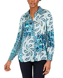 Printed Silk Button-Down Top